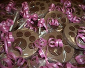 12 Animal Puppy Dog Paw Print Solid Round Milk Chocolate Hand painted Lollipop Party Favors