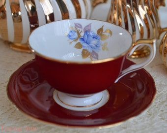 Aynsley Deep Red Footed Teacup and Saucer Set With Blue Rose, English Bone China Tea Cup, Wedding Gift, Teacup With Roses, ca. 1960