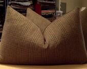 "One Ralph Lauren Moss ""HILL CLIFF PLAID"" Scottish Wool Plaid Custom Bolster Pillow - Bark English Wool Back - 15"" by 23"""