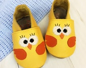 New Baby Gift - Chick Baby Shoes - Personalized baby gift - Leather Baby Shoes - gift for new baby - baby keepsake