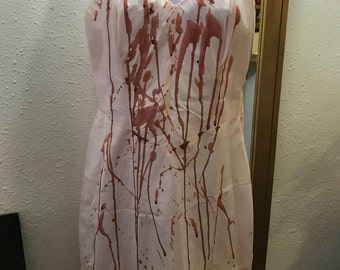 Bloody Sexy Vintage 40's/50's Full Slip. Tattered and Bloodied Zombie Bombshell, Bloody Mary, Vampire, Psycho, Dead Girl. Adult M/L