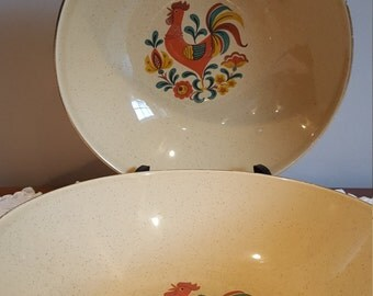 Vintage Vegetable Bowl Gold Rooster Bowl Mid Century Dinnerware Set of 2 bowls