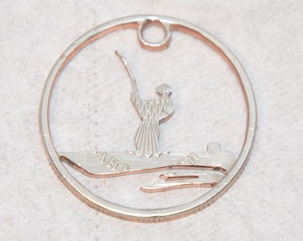 Fisherman coin cut pendant necklace charm. Russian circulated coin jewelry by invicia
