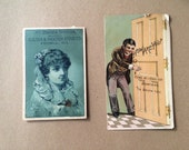 Two Victorian Era Trade Cards  Antique Advertising Cards for Stoves.  Lexington Stove by Culter and Proctor Stove Co and Charter Oak Stoves