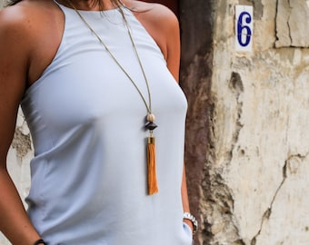 """Long Tassel Necklace with Wooden Beads and Brass Chain - """"Marangu"""" Necklace"""