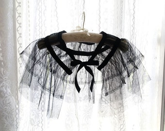Goth Gothic Black Tulle Black Velvet  Sheer Cape Poncho Top,Women's Goth Clothing, Darling Beach Coverup Bolero Shwal Shrug Boho