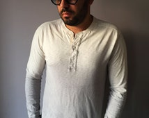 Mens Ombre Grey T-shirt Size Medium Dip Dye Graphite Hand Dyed Top Upcycled Vegan One Of A Kind Shirt Long Sleeve Ivory Blouse Shibori Top