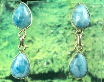 Beautiful Nice Blue Larimar Teardrop Dangle Earring  35 mm