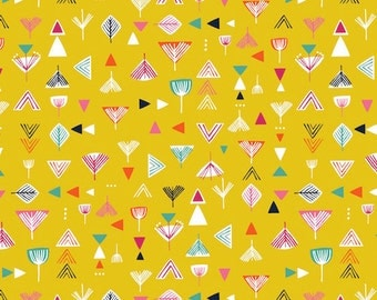 Nature Trail - Geometric in Mustard - NATR1137 - Bethan Janine for Dashwood Studio - 1/2 Yard
