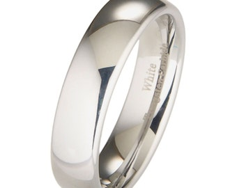 Men's White Tungsten Ring Comfort Fit 6mm Wedding Band Dome