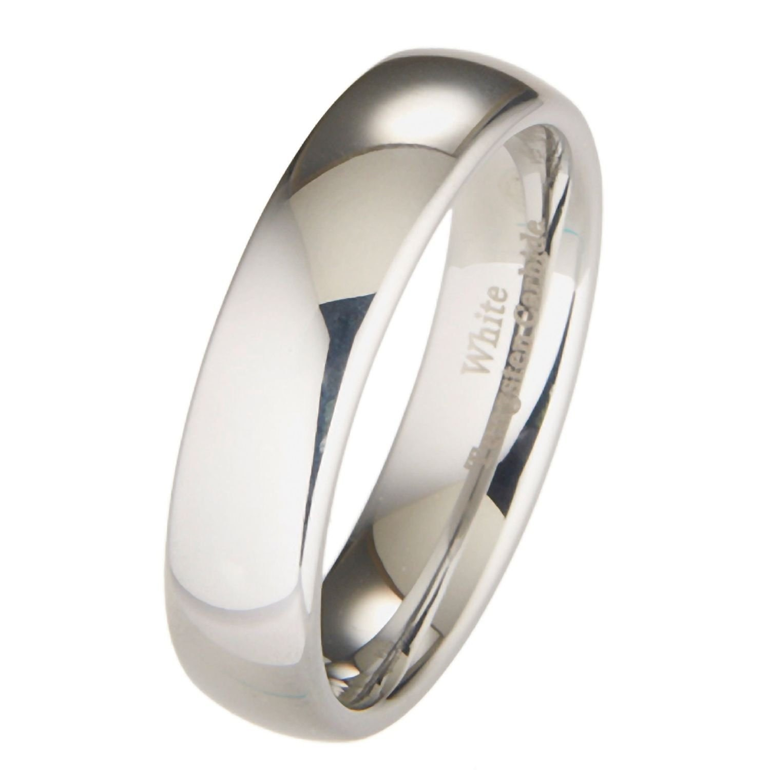 men 39 s white tungsten ring comfort fit 6mm wedding band