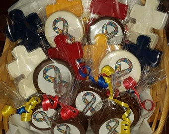FREE AUCTION ITEM w purchase of 50 Autism Awareness Fundraising Puzzle Piece Lollipop Party Favors