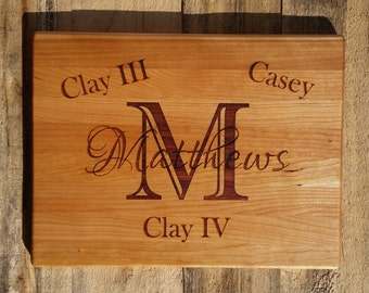 Personalized Cutting Board - Wood Chopping Block Custom Engraved Monogrammed Inlay