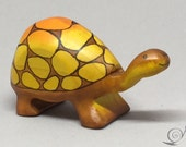 Toy Turtle large with high tortoise shell wooden colorful orange brown size 4,5 x 8,5  x 3,0 cm (bxhxs)  ca. 30,0 gr.
