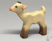 Toy kid goat wooden grey white colourful standing Size: 7,0 x 6,4 x 1,7 cm (bxhxs)  approx. 12,0 gr.