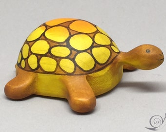 Toy Turtle wooden colourful orange grown Size: 5,5 x 8,5  x 3,0 cm (bxhxs)  appr.  30,0 gr.