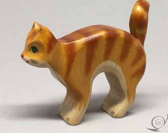 Toy Cat with cat's arched back wood brown with brown stripes Size: 8,0 x 7,0 x 2,2 cm (bxhxs) approx. 27 gr.