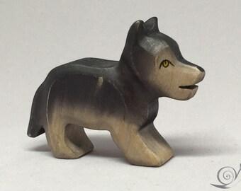 Toy Wolf baby wooden grey black Size: 5,0 x 3,0 x 1,7 cm (bxhxs)   approx. 11,5 gr.