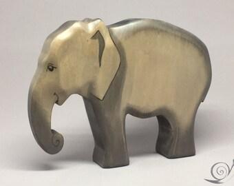 Toy Elephant wooden grey large Size 16,5 x 12,0 x 3,0 cm (bxhxs)  approx. 190 gr.