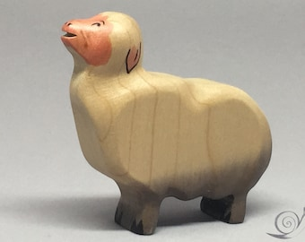 Toy Sheep wooden white grey pink colourful - standing with heads up mowing Size: 7,0 x 6,5 x 2,0 cm (bxhxs)  approx. 29,5 gr.