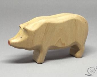 Toy Pig - Hog Wooden / white Size: 9,5 x 5,0 x 2,2 cm (bxhxs)  approx. 30,0 gr.