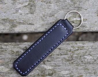 Handmade black leather keyring