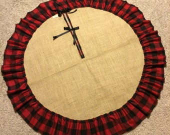 "48"" Burlap Tree Skirt with Single Raw Edge Ruffle Black and Red Plaid"