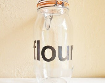 Very Large Mid-Century Glass Flour Jar with Great Graphic Design with Seal