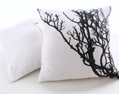 Pillow cover with branch screen printed.