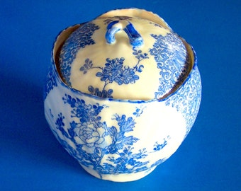 Vintage Porcelain Pot with Cover in Blue Floral Painted Design