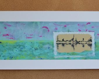 "Giclee print of acrylic paint and cloth collage art, ""Indo Dream"", ocean, water, island, beach, aqua, grey, magenta, silver"