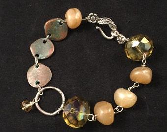 Hand beaded bracelet, yellow and green bracelet, link bracelet, glass bead bracelet, BOHO bracelet,