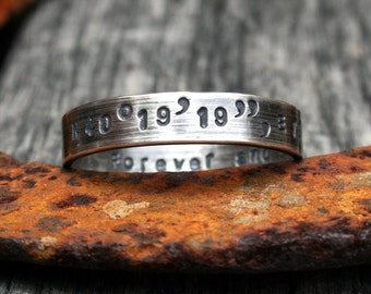 Personalized Sterling Silver Ring - Latitude Longitude Custom Coordinates Memento Band w/ Small Print