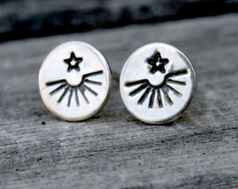 Sterling Silver Round Post Earrings - Sun Burst and Star