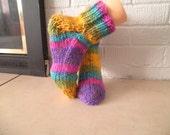 Slipper Socks, hand knitted, Size L