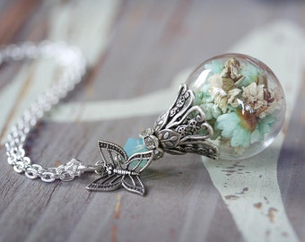 SUMMER SAGE Victorian Cloche Dried Flower Necklace, Glass Vial Dome Necklace on High Quality Silver Chain, Ready to Ship