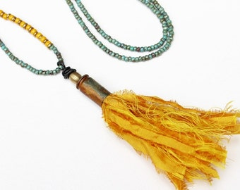 Tassel Necklace Yellow Bead Necklace Blue Beaded Jewelry Recycled Repurposed Long Boho Pendant Necklace Seed Bead Necklace Long Necklace