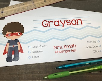 Set of 10 Personalized School Envelopes for Kids - Superhero