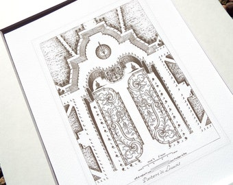Antique French Garden Plan 6 In Sepia, Navy & Sea Glass Blue Archival Print