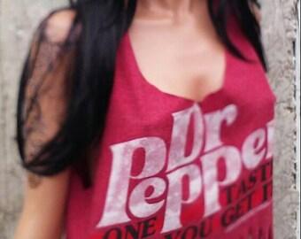 Dr Pepper Fringe Tank Top Shredded Shirt