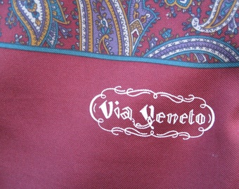 Via Veneto Vtg On Sale Signed Silk Burgandy Long Scarf Made in Italy for El Corte Ingles Madrid Espana Pristine Paisley W Frayed Ends 54 In