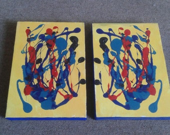 "Original Abstract Painting -""African Sun"" Pair of paintings from South Africa. Can be arranged in various ways. African Art. Ready to hang"