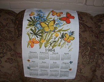 Vintage 1984  Calendar Tea Towel.....Nice Colors....1980's Tea Towel ...Good Condition.....