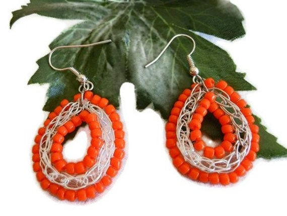 Orange Bead Wire Weave Earrings By Cathy of Crafting Memories