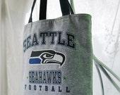 Seahawks Tote, UPCYCLED Seahawks Tee Shirt Tote Bag, Sports Bag, Team Bag, Market Bag, Library Bag, Book Bag, Diaper Bag, Repurposed Tee Bag