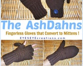 The AshDahns - Convertible Fingerless Gloves / Mittens