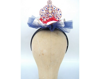 Red White Blue Crown Fascinator Lolita Victorian Edwardian Steampunk Princess Cosplay Burlesque Headpiece Hat Independence Costume Patriotic