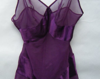 Vintage Purple Lingerie Teddy One Piece Sheer and Satin Size Small