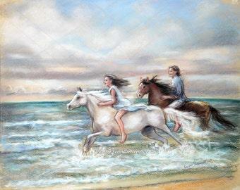 "Horses, Beach, Seascape, couple, romantic art,  ""Chasing the Wind"" Canvas or Cotton art paper print , Laurie Shanholtzer,"