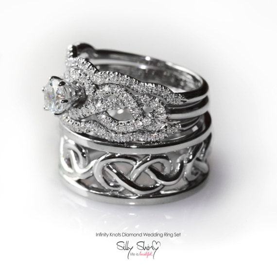 his hers infinity knot wedding rings set by